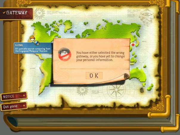 The World Select screen for the Beta Version of what would become MapleGlobal and MapleSEA